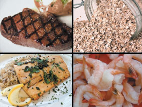 The mineral zinc is found in shellfish, fish, meat, oats, beans, and peas.