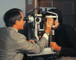The slit lamp is a microscope that gives the examiner a magnified view of the retina.