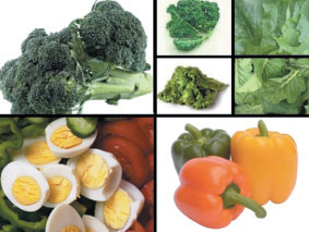 Lutein and zeaxanthin are important nutrients found in kale, mustard greens, turnip greens, romaine lettuce, orange peppers, yellow corn, broccoli, avocados, oranges, and egg yolks.